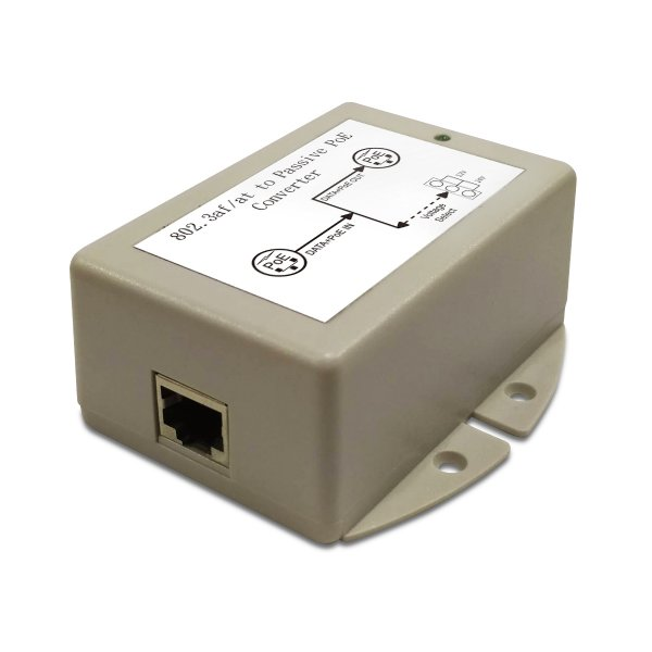 24W DC/DC Gigabit PoE Converter with 48V DC PoE Input and 12/24V Switchable Output Voltages