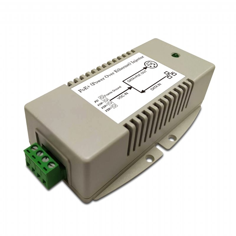 56V/625mA High-power Gigabit PoE Injector with 10 to 15V DC Input, 802.3at Compliant